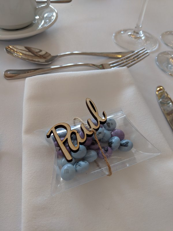 Wooden laser cut wedding place name, table favour