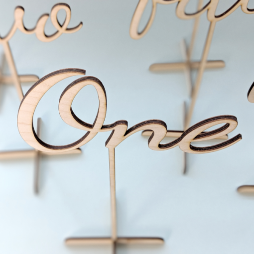 Wooden laser cut wedding table numbers, freestanding table number